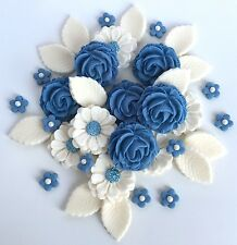 Powder Blue & Ivory Roses Bouquet Cake Decorations Topper Sugar Edible Flowers