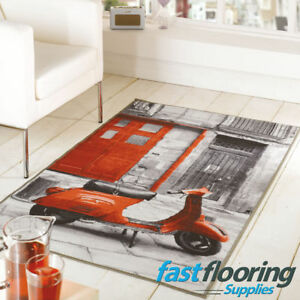 Matrix Themes Vacation Red Grey Rug 80 x 120cm - SALE - *RRP £25*