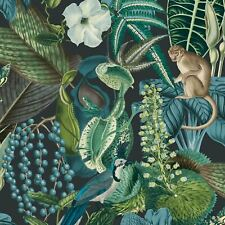 Grandeco Amazon Giungla Esotico Animali Fiori Carta da Parati - Nero/Blu JF2202