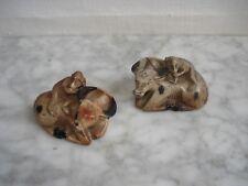 Paire de Statuettes Chinoises en  Stéatite  Buffles & Singes