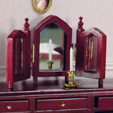 Dolls House Miniature 1:12th Scale Mahogany Triple Mirror