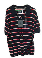 Mens Tweed River Polo Shirt Blue With Red And White Stripes - Large