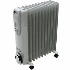 NEW! 2500W 11 Fin Portable Oil Filled Radiator Electric Heater