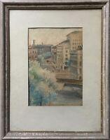 Watercolour - Hamburg? Bridge City View - Signed 1946 - 14 5/8x11 3/8in