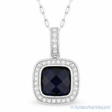 2.23 ct Lab-Made Blue Sapphire Diamond Halo Pave 14k White Gold Necklace Pendant