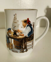 """1985 Norman Rockwell Museum """"For A Good Boy"""" Porcelain Coffee Cup Mug Gold Trim"""