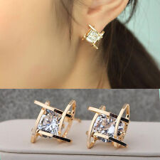 Fashion Women Lovely Elegant Crystal Rhinestone Square Ear Stud Earrings Gold