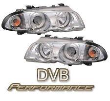 To Fit BMW 3 Series E46 98-01 4 Door Chrome Twin Angel Eye Projector Headlights