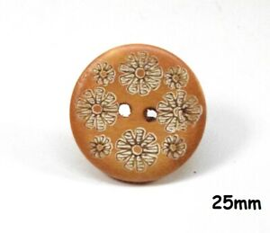 10 Tan Colour Wooden 2 Hole Flower Engraved Pattern 25mm Buttons Sewing - 1424