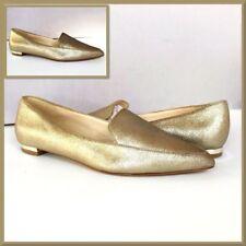 Nine West Abay Flats Size 7 Womens Metallic Gold Slip On Pointed-Toe