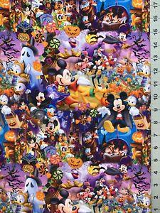 "Disney Mickey Halloween Custom Fabric Fat Quarter 18""x28"" Cotton Lycra/Spandex"