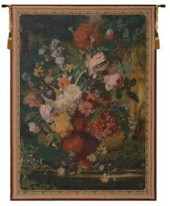 """RARE VTG GOBLY'S Wool/Cotton 56 x 40"""" Tapestry Flemish Bouquet Made In France"""