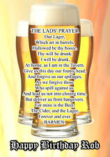 Lads Prayer LAGER BEER PERSONALISED Happy Birthday Xmas Stag Night Greeting Card