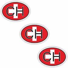 3x adesivi ovali bandiera Svizzera Codice Paese piccolo caso Smartphone Laptop
