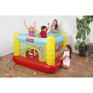 NEW Inflatable Bounce House Kids Bouncy Indoor Fun With Built-in Hoop Ball Maze