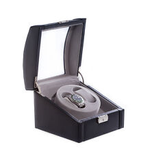 Winder With Glass Top Bey-Berk Black Leather 2 Watch
