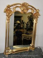 French Art Nouveau Gilt Pier Mirror Glass Mirrors