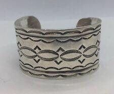 Hand Made Ornate Cuff Bracelet Vintage Navajo Native American Sterling Silver