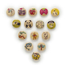 50pcs 2 Hole Cute Animal Round Wood Buttons Sewing Scrapbooking Decor Home 15mm