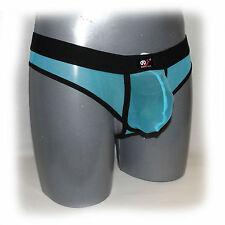 WJ - PERIZOMA BLACK bordi trasparente taglia M - Azzurro - extra aderente -
