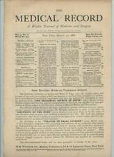 3/10 1888 New York Medical Record Journal Medicine Surgery Doctor Trade Magazine