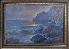 SEASCAPE SUNSET SAILING ITALIAN LISTED ARTIST ENSEL SALVI 1947