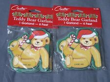 New Lot of 2 Vintage Carlton Cards Teddy Bear Christmas Garland Classroom/Office