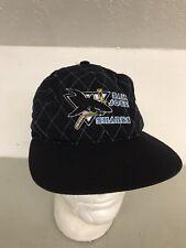 Rare!!San Jose Sharks Vintage Starter Black Quilted Quilt Stitch SnapBack Hat