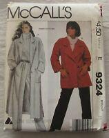 Vintage Coat Sewing Pattern*McCalls 9324*Size 16*UNCUT/FF*loose long jacket