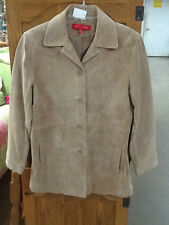 EUC! Womens Size XS ANNE KLEIN Beige Tan Suede Leather Jacket Lined