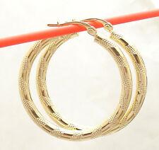 "3X30mm 1 1/4"" Full Diamond Cut Hoop Earrings Real 14K Yellow Gold FREE SHIPPING"