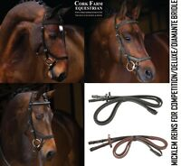 Horseware Rambo MICKLEM ENGLISH LEATHER Competition REINS Black/Brown Pony/Full