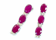 5.10ct Ruby and Diamond Dangling Earrings in 14K White Gold