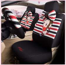 Cute Cartoon Monkey Cool Car Seat Cover Sitting Cushion Comfortable Black Red