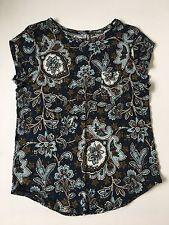 Anne Taylor LOFT Linen Blue Floral Printed Shirt Top Womens Large L
