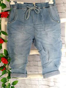 Karostar weiche Capri Bermuda Jeans Jogg Pants Jogging Style Gr. 38