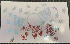 cold cup sticker full wrap vinyl decals butterflies dreamcatcher tumbler coldcup