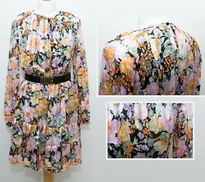 Chiffon Floral Dress Size S Lined Long Sleeve New