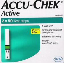 100 Test Diabetic Strips for Glucometer Accu-Chek Active, Sugar,