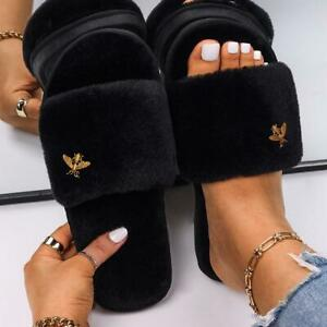Faux Fur Slides Women Fur Slippers Insect Style Fluffy Gold Metal Flats Sandals