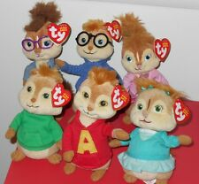 Ty Beanie Babies ALVIN & THE CHIPMUNKS & CHIPETTES Set With Hang & Tush Tags
