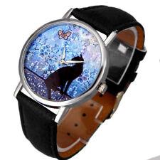 Casual Cat Pattern Girls Ladies Womens Leather Band Quartz Analog Wrist Watch