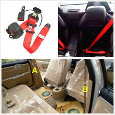 Red 3 Point Retractable Safety Car Seat Belts Lap Belt with Curved Rigid Buckle