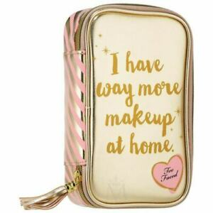Too Faced  New Makeup Cosmetic Bag Pink/Gold