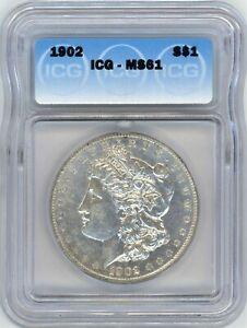 1902 ICG MS-61 MORGAN SILVER $ ~ BETTER DATE ~  100% WHITE & BRIGHT ~ 1c START