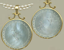 14k Hvy Bale Pendant For Round Antique Chinese MoPEARL Engraved Game Counter