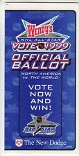 1999 WAYNE GRETZKY'S LAST NHL All Star Hockey Game Fan Official Ballot