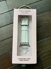 Kate Spade Apple Watch 38/40mm White Leather Scalloped Band Strap NEW NIB