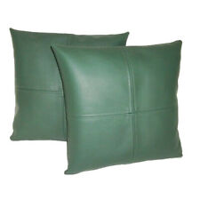 Lambskin Handmade Leather Pillow Cushion Cover Home Relax Bed Square Green Soft