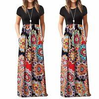 Fashion Summer Women's Casual Boho Sleeve O-neck Print Maxi Tank Long Dress